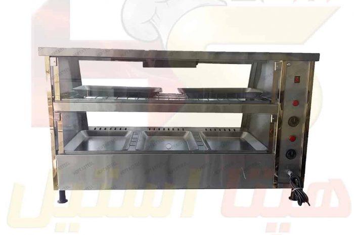 دستگاه گرمخانه رو میزی دیسپلی مرغ سوخاری هپتا استیل